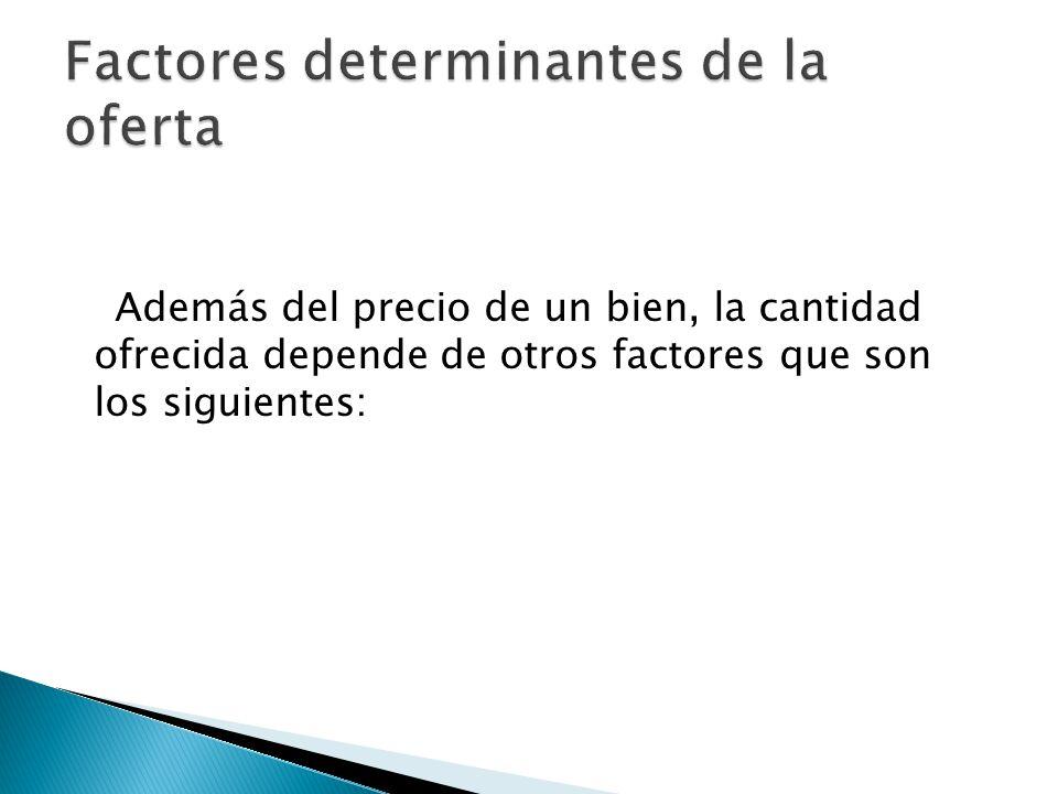 Además del precio de un bien, la cantidad ofrecida depende de otros factores que son los siguientes: