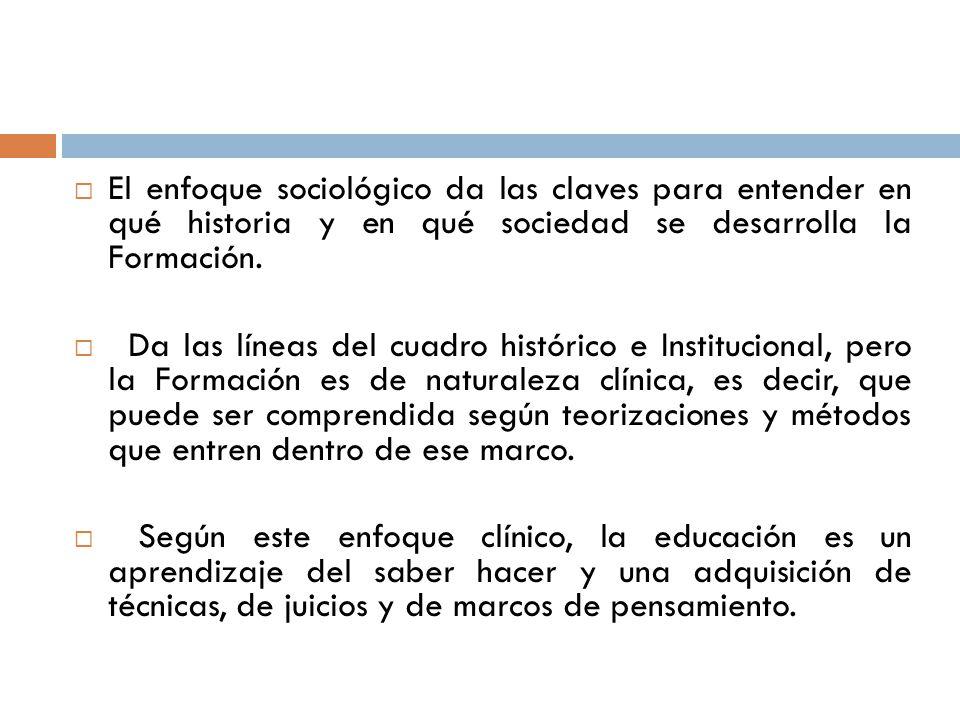 El enfoque sociológico da las claves para entender en qué historia y en qué sociedad se desarrolla la Formación. Da las líneas del cuadro histórico e