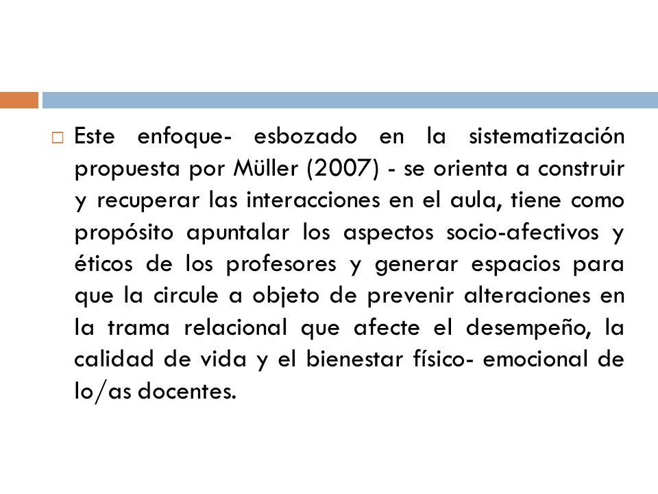 Este enfoque- esbozado en la sistematización propuesta por Müller (2007) - se orienta a construir y recuperar las interacciones en el aula, tiene como