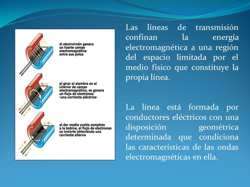Las líneas de transmisión confinan la energía electromagnética a una región del espacio limitada por el medio físico que constituye la propia línea. L