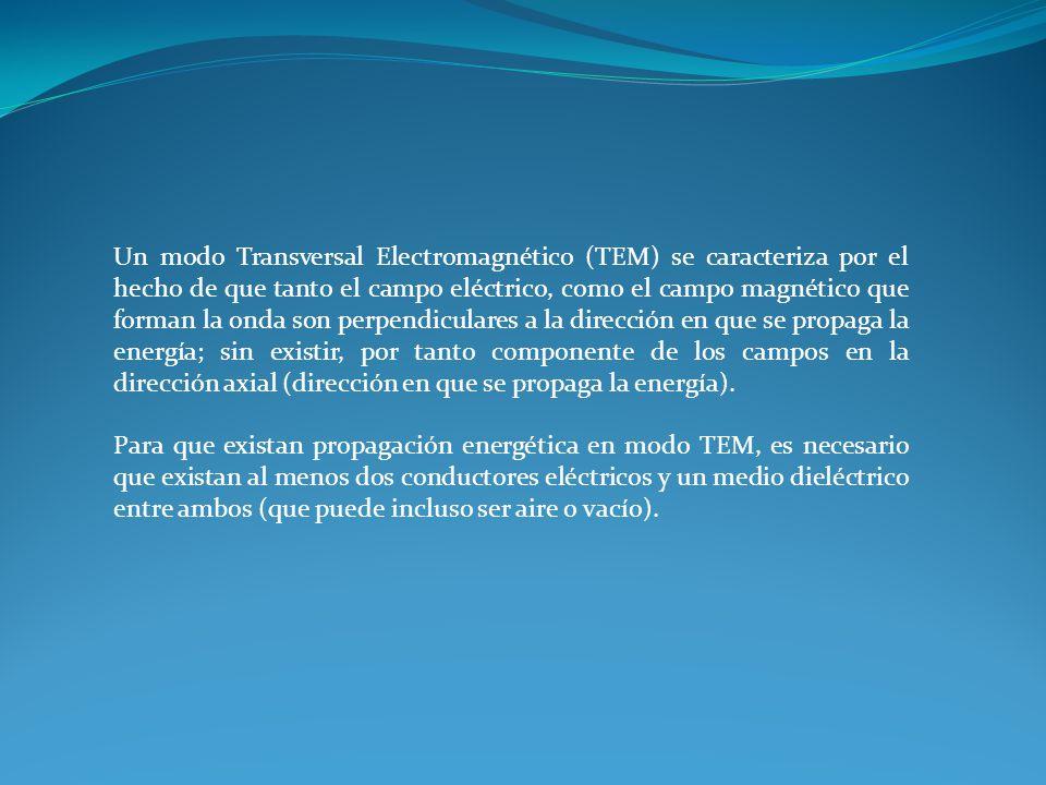 Un modo Transversal Electromagnético (TEM) se caracteriza por el hecho de que tanto el campo eléctrico, como el campo magnético que forman la onda son