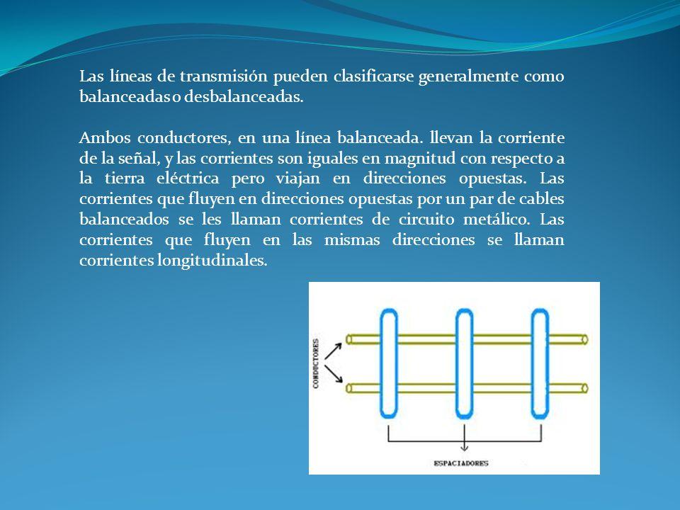 Las líneas de transmisión pueden clasificarse generalmente como balanceadas o desbalanceadas. Ambos conductores, en una línea balanceada. llevan la co