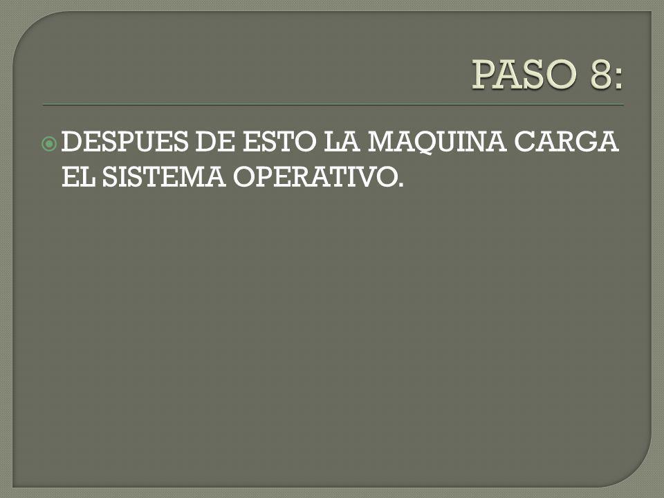 DESPUES DE ESTO LA MAQUINA CARGA EL SISTEMA OPERATIVO.