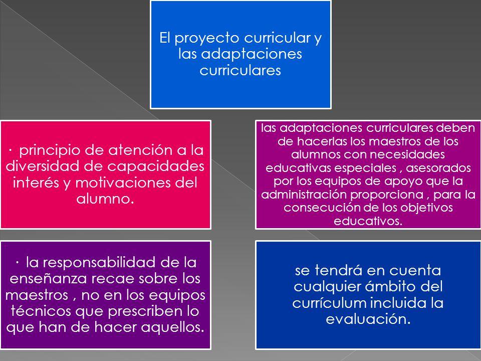 · principio de atención a la diversidad de capacidades interés y motivaciones del alumno. las adaptaciones curriculares deben de hacerlas los maestros