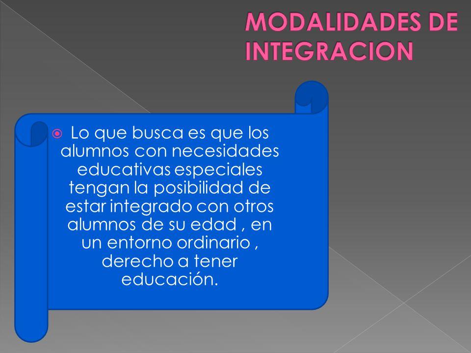 Lo que busca es que los alumnos con necesidades educativas especiales tengan la posibilidad de estar integrado con otros alumnos de su edad, en un ent
