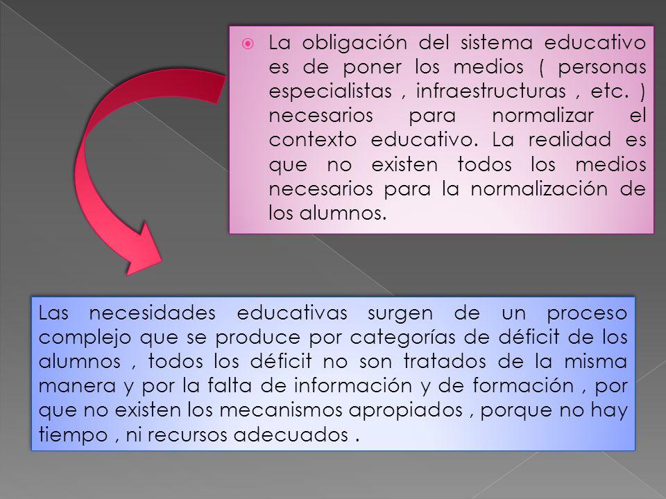 La obligación del sistema educativo es de poner los medios ( personas especialistas, infraestructuras, etc. ) necesarios para normalizar el contexto e