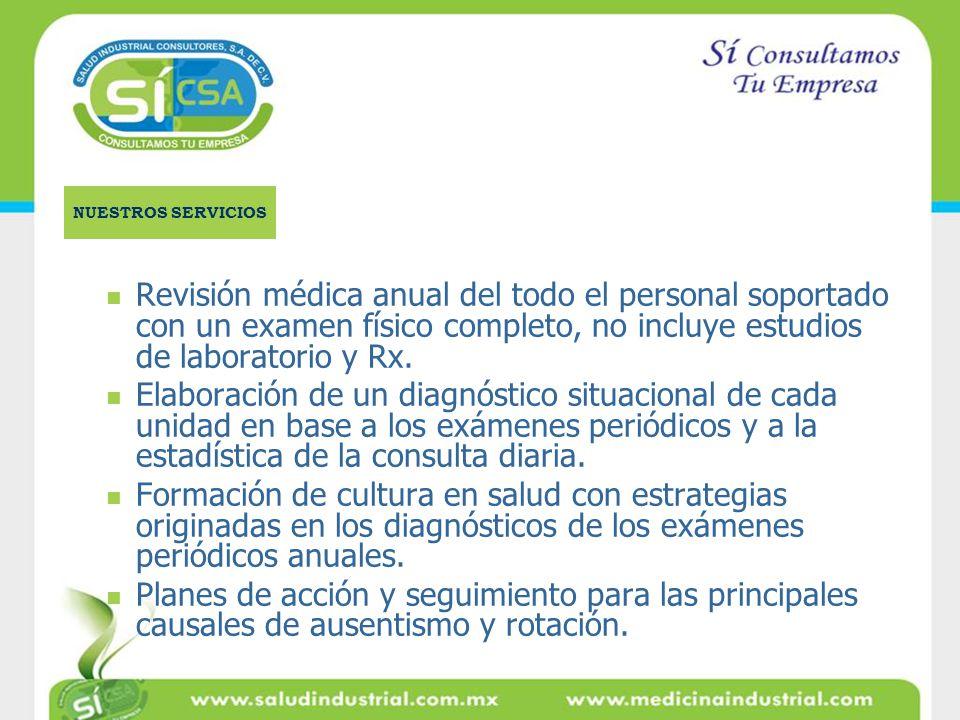 Revisión médica anual del todo el personal soportado con un examen físico completo, no incluye estudios de laboratorio y Rx. Elaboración de un diagnós