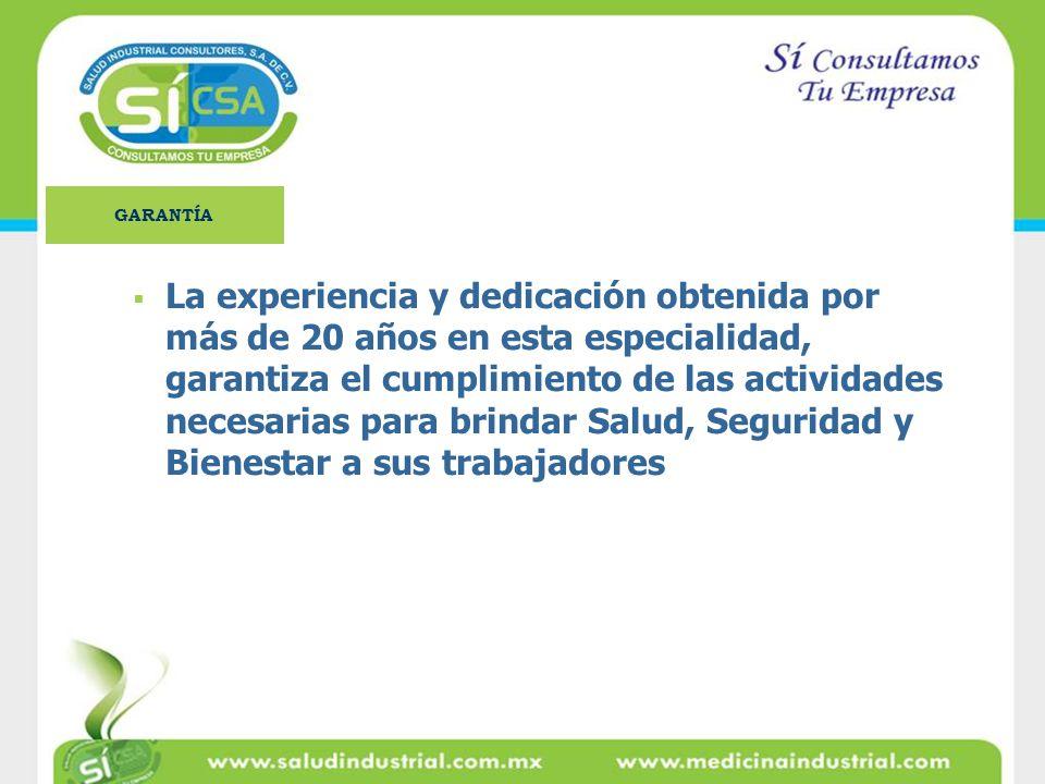 La experiencia y dedicación obtenida por más de 20 años en esta especialidad, garantiza el cumplimiento de las actividades necesarias para brindar Sal