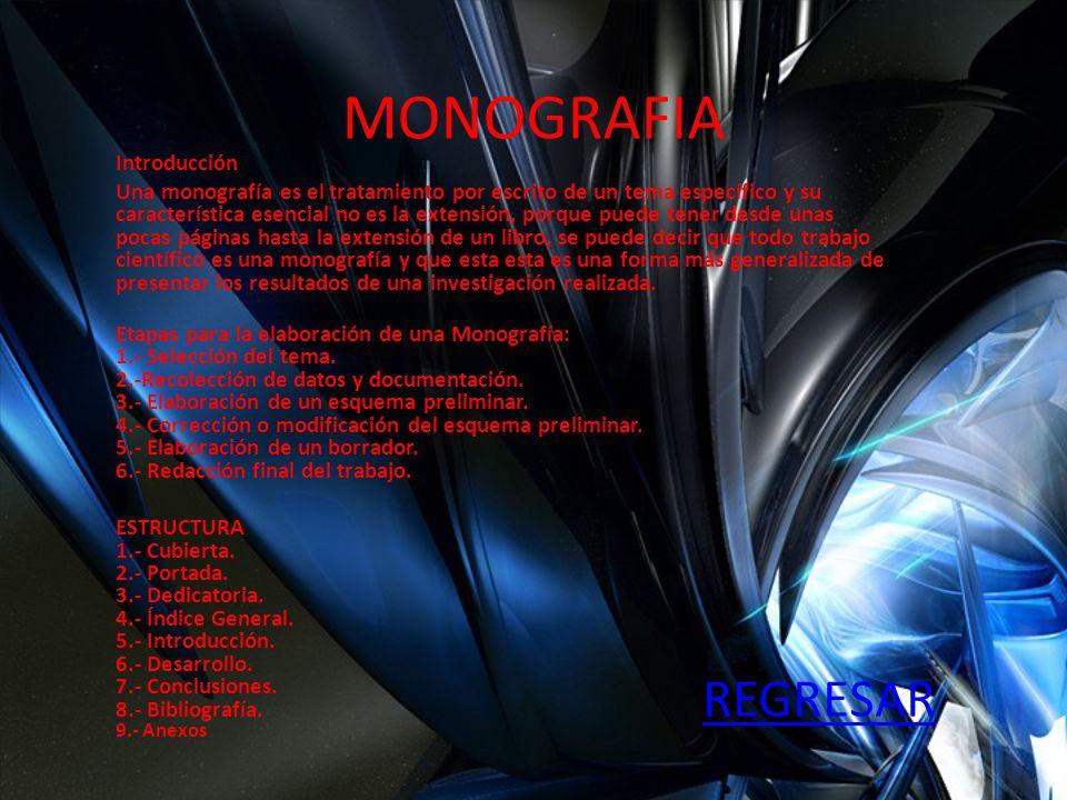 MONOGRAFIA Introducción Una monografía es el tratamiento por escrito de un tema específico y su característica esencial no es la extensión, porque pue
