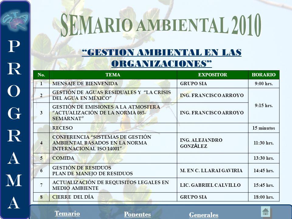 M.en C. Llaraí Gaviria González Consultor en materia ambiental.