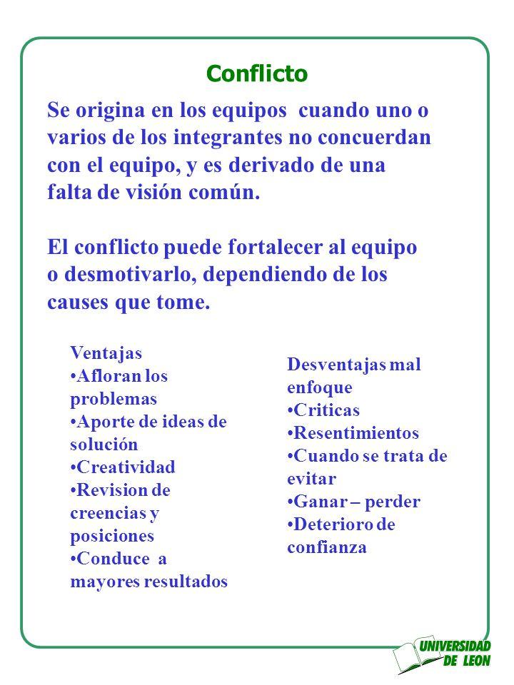 Conflicto Se origina en los equipos cuando uno o varios de los integrantes no concuerdan con el equipo, y es derivado de una falta de visión común. El