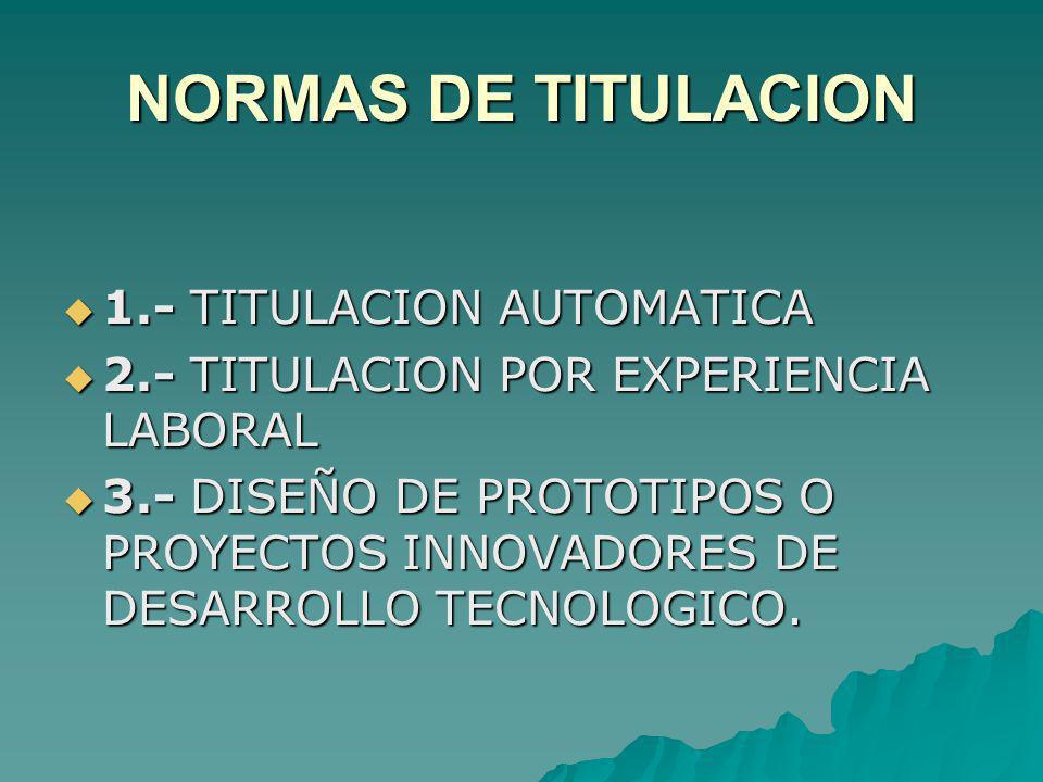 NORMAS DE TITULACION 1.- TITULACION AUTOMATICA 1.- TITULACION AUTOMATICA 2.- TITULACION POR EXPERIENCIA LABORAL 2.- TITULACION POR EXPERIENCIA LABORAL