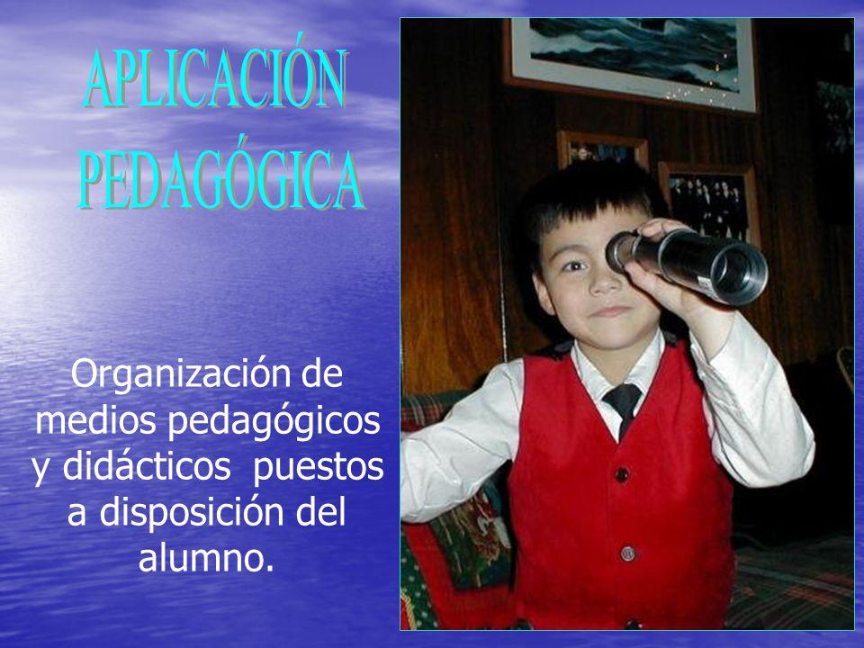 Organización de medios pedagógicos y didácticos puestos a disposición del alumno.