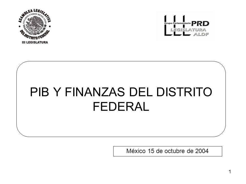 1 PIB Y FINANZAS DEL DISTRITO FEDERAL México 15 de octubre de 2004