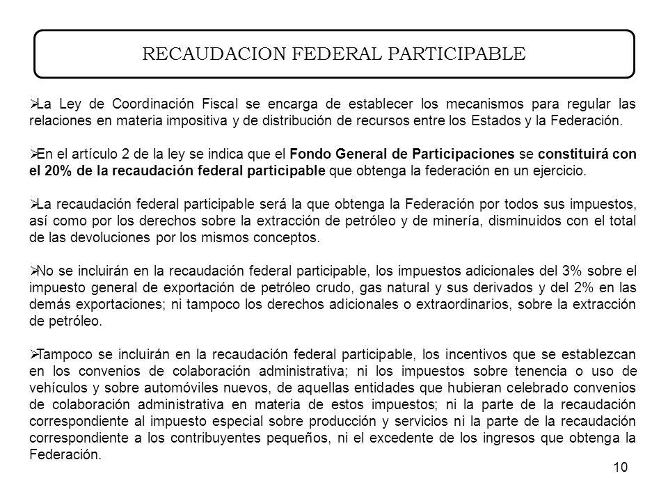 10 RECAUDACION FEDERAL PARTICIPABLE La Ley de Coordinación Fiscal se encarga de establecer los mecanismos para regular las relaciones en materia impositiva y de distribución de recursos entre los Estados y la Federación.
