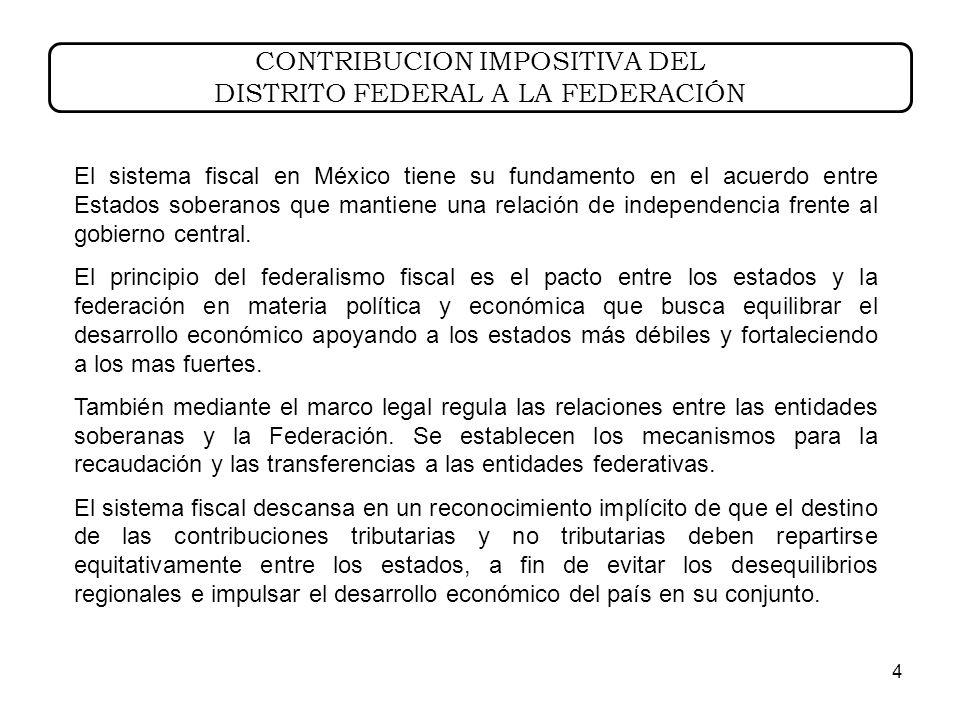 4 El sistema fiscal en México tiene su fundamento en el acuerdo entre Estados soberanos que mantiene una relación de independencia frente al gobierno central.