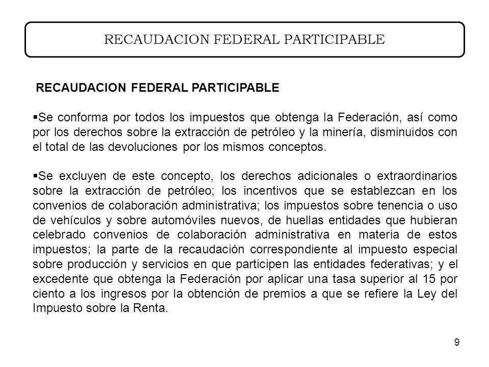 9 RECAUDACION FEDERAL PARTICIPABLE Se conforma por todos los impuestos que obtenga la Federación, así como por los derechos sobre la extracción de petróleo y la minería, disminuidos con el total de las devoluciones por los mismos conceptos.