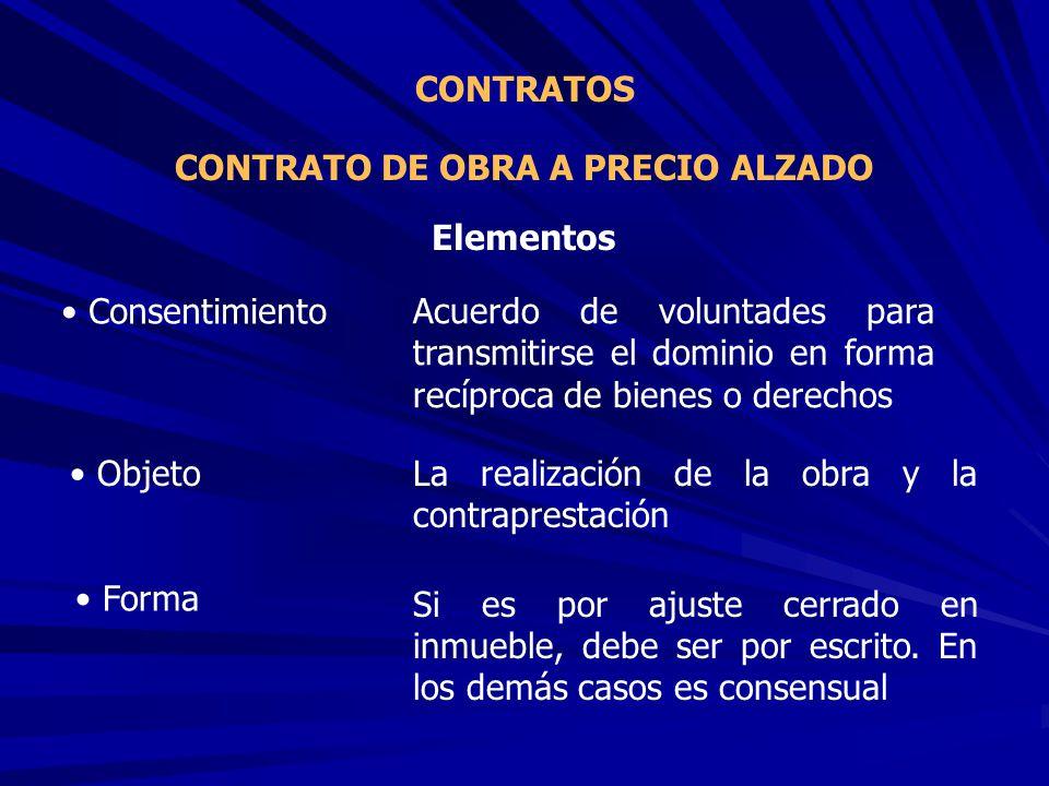 CONTRATO DE OBRA A PRECIO ALZADO CONTRATOS Acuerdo de voluntades para transmitirse el dominio en forma recíproca de bienes o derechos Elementos La rea