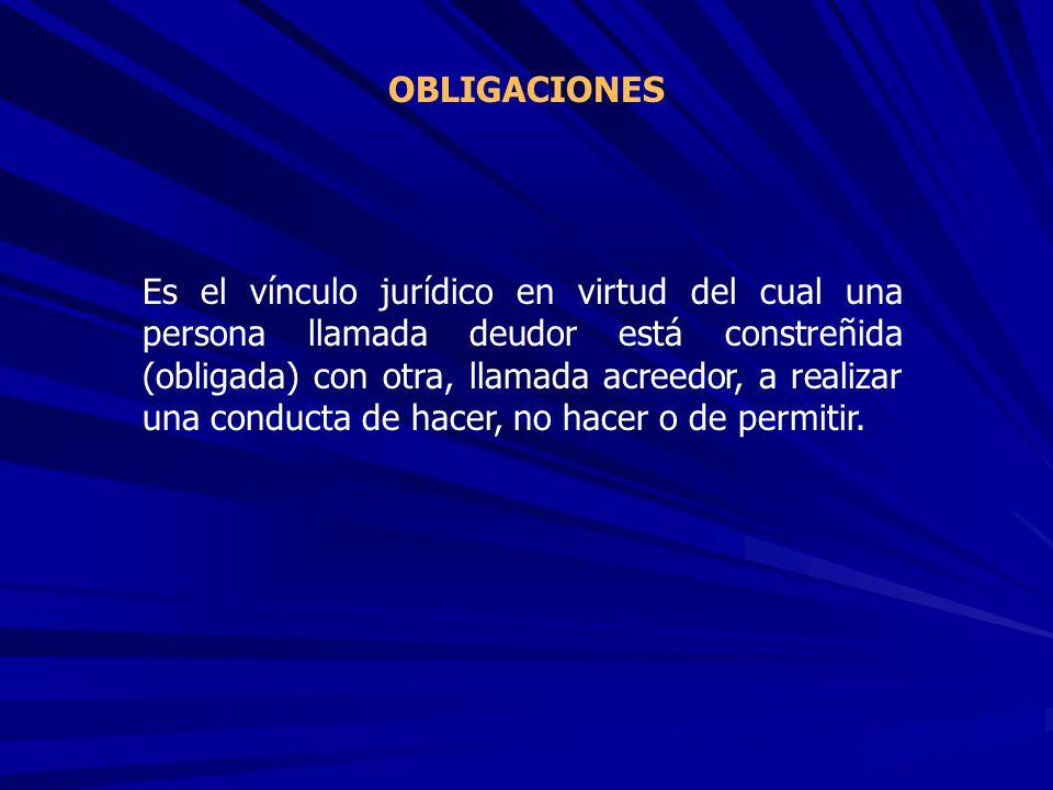 Es el vínculo jurídico en virtud del cual una persona llamada deudor está constreñida (obligada) con otra, llamada acreedor, a realizar una conducta d