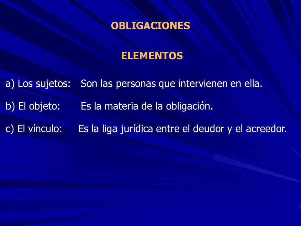 ELEMENTOS OBLIGACIONES a) Los sujetos: b) El objeto: c) El vínculo: Son las personas que intervienen en ella. Es la materia de la obligación. Es la li