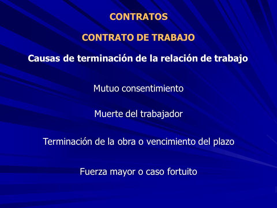 CONTRATO DE TRABAJO CONTRATOS Causas de terminación de la relación de trabajo Mutuo consentimiento Muerte del trabajador Terminación de la obra o venc