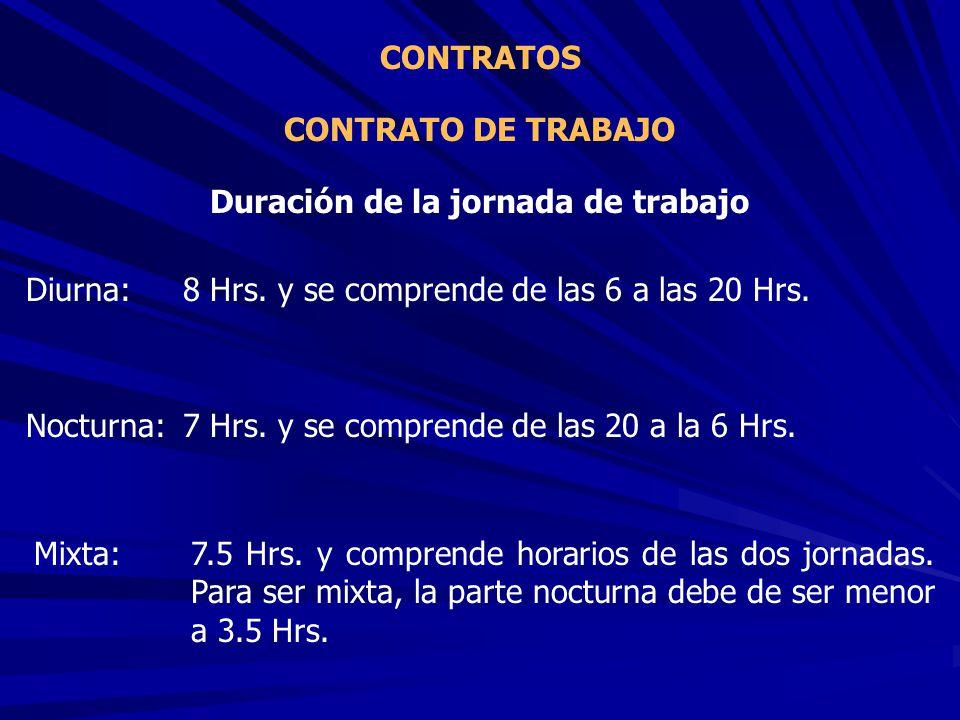CONTRATO DE TRABAJO CONTRATOS Duración de la jornada de trabajo Diurna:8 Hrs. y se comprende de las 6 a las 20 Hrs. Nocturna:7 Hrs. y se comprende de