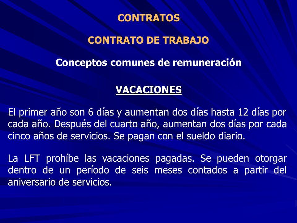 CONTRATO DE TRABAJO CONTRATOS Conceptos comunes de remuneración VACACIONES El primer año son 6 días y aumentan dos días hasta 12 días por cada año. De