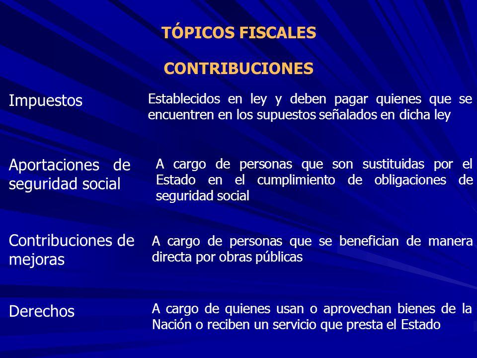 TÓPICOS FISCALES CONTRIBUCIONES Impuestos Aportaciones de seguridad social Contribuciones de mejoras Derechos Establecidos en ley y deben pagar quiene