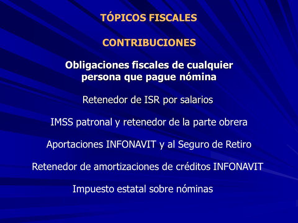 TÓPICOS FISCALES CONTRIBUCIONES Obligaciones fiscales de cualquier persona que pague nómina Retenedor de ISR por salarios IMSS patronal y retenedor de