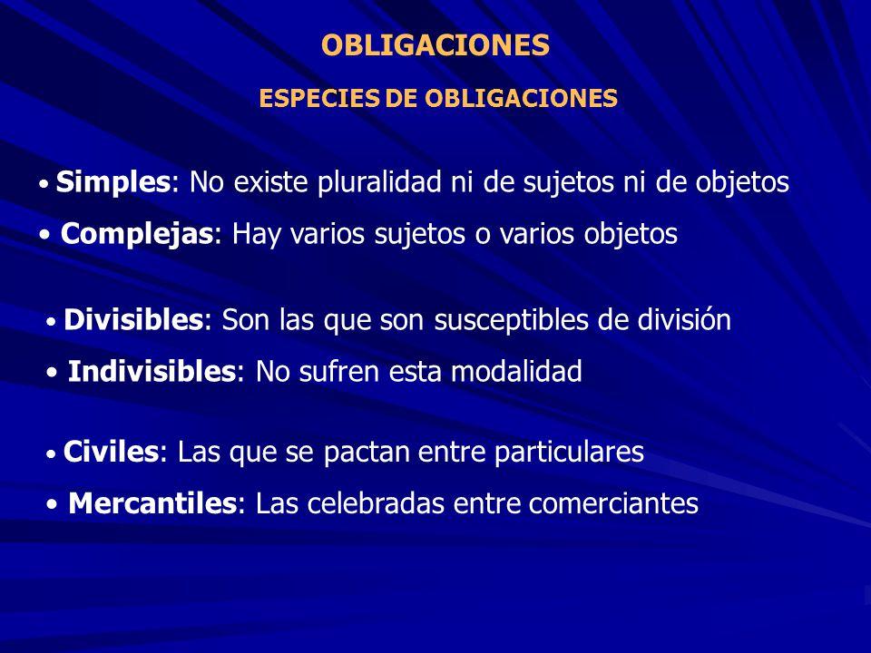 OBLIGACIONES Simples: No existe pluralidad ni de sujetos ni de objetos Complejas: Hay varios sujetos o varios objetos ESPECIES DE OBLIGACIONES Civiles