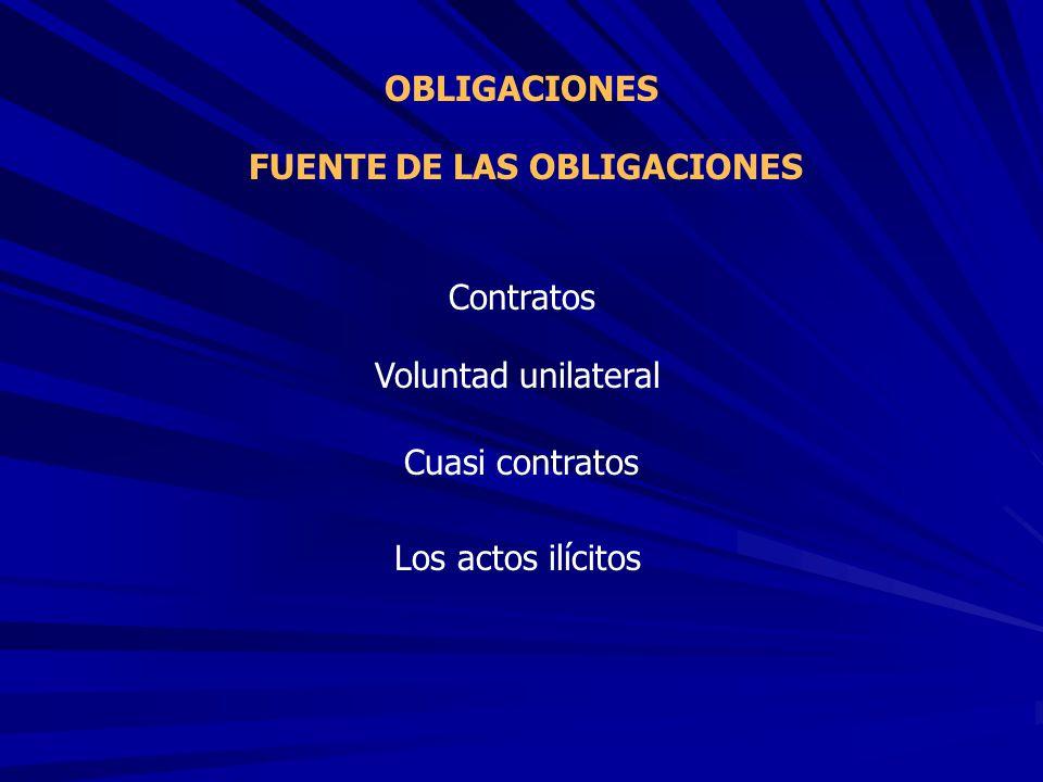 FUENTE DE LAS OBLIGACIONES OBLIGACIONES Contratos Voluntad unilateral Cuasi contratos Los actos ilícitos