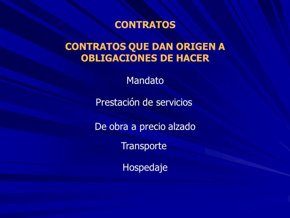 CONTRATOS QUE DAN ORIGEN A OBLIGACIONES DE HACER CONTRATOS Mandato Prestación de servicios De obra a precio alzado Transporte Hospedaje