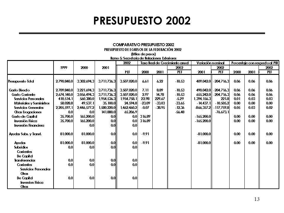 13 PRESUPUESTO 2002
