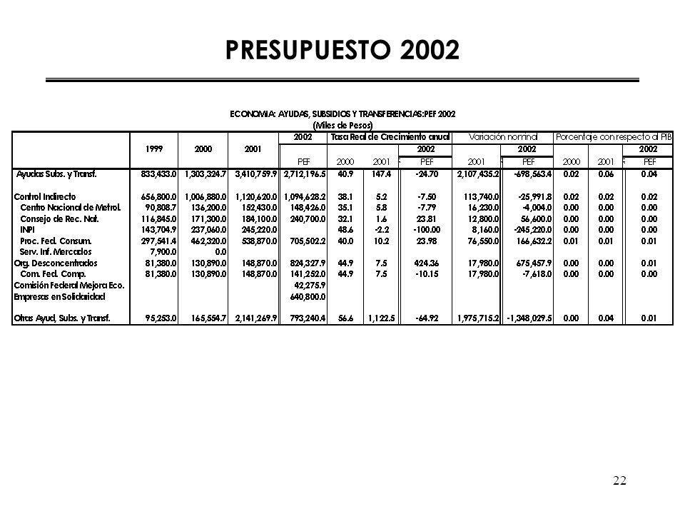 22 PRESUPUESTO 2002