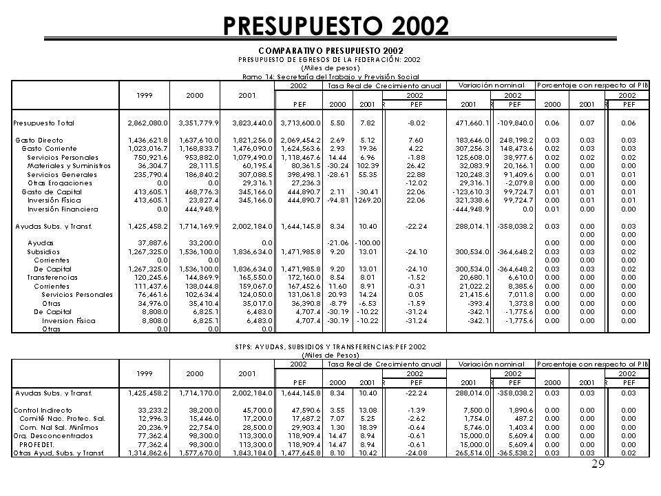 29 PRESUPUESTO 2002