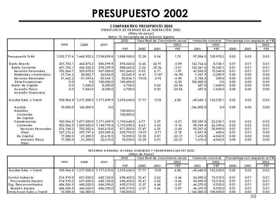 30 PRESUPUESTO 2002