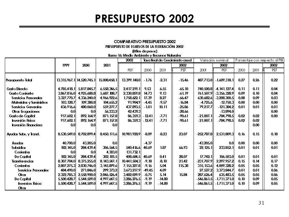 31 PRESUPUESTO 2002