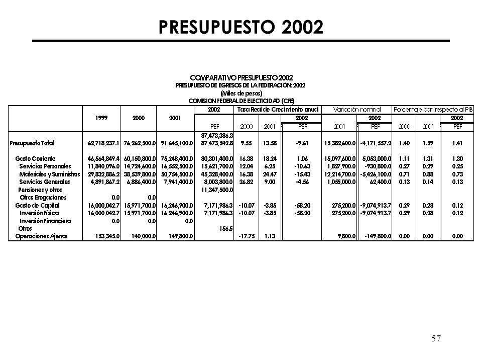 57 PRESUPUESTO 2002