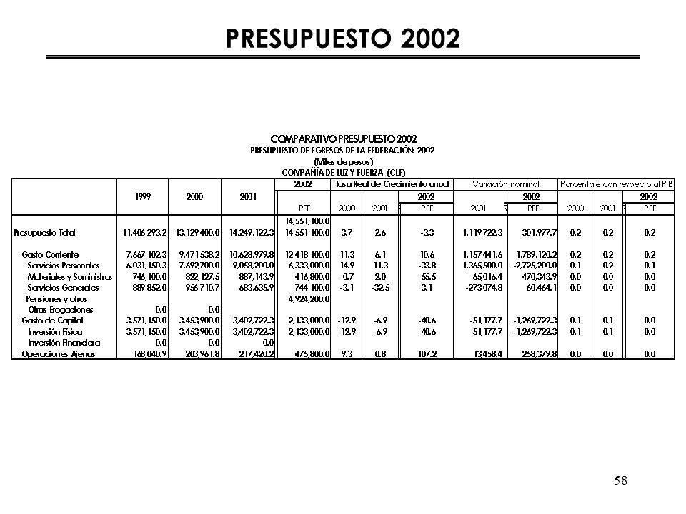 58 PRESUPUESTO 2002