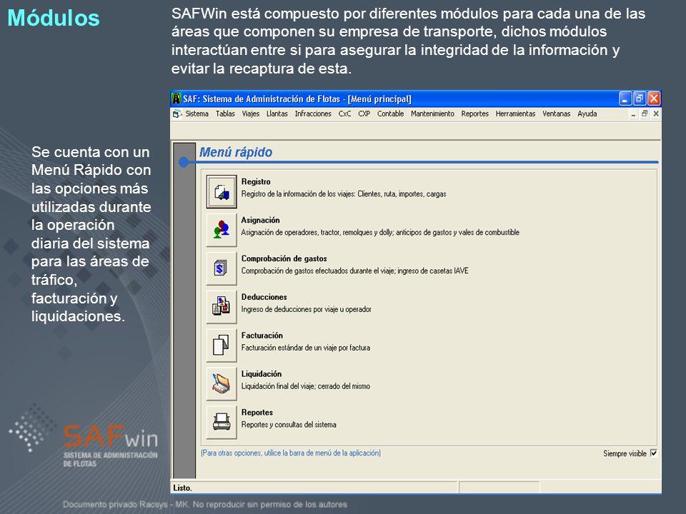 SAFWin está compuesto por diferentes módulos para cada una de las áreas que componen su empresa de transporte, dichos módulos interactúan entre si par