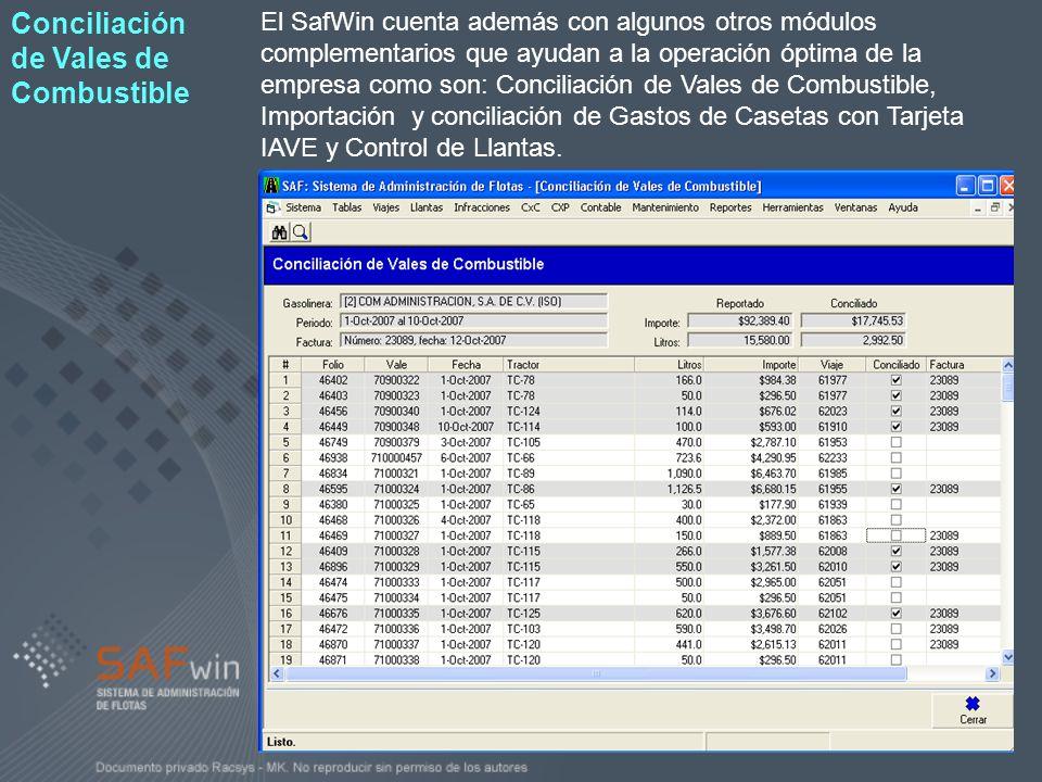 El SafWin cuenta además con algunos otros módulos complementarios que ayudan a la operación óptima de la empresa como son: Conciliación de Vales de Co