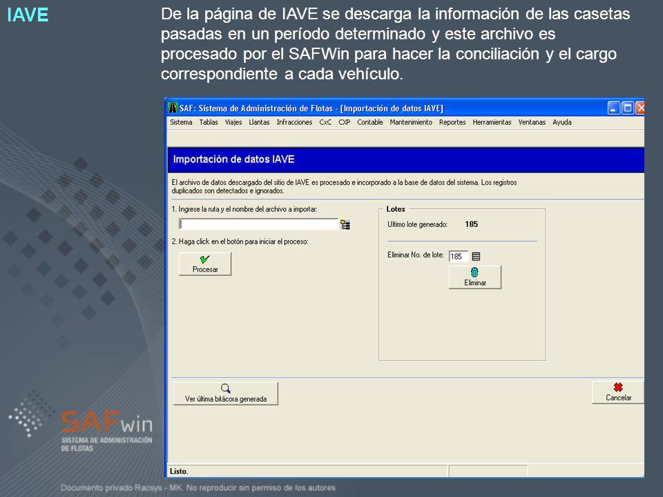 De la página de IAVE se descarga la información de las casetas pasadas en un período determinado y este archivo es procesado por el SAFWin para hacer