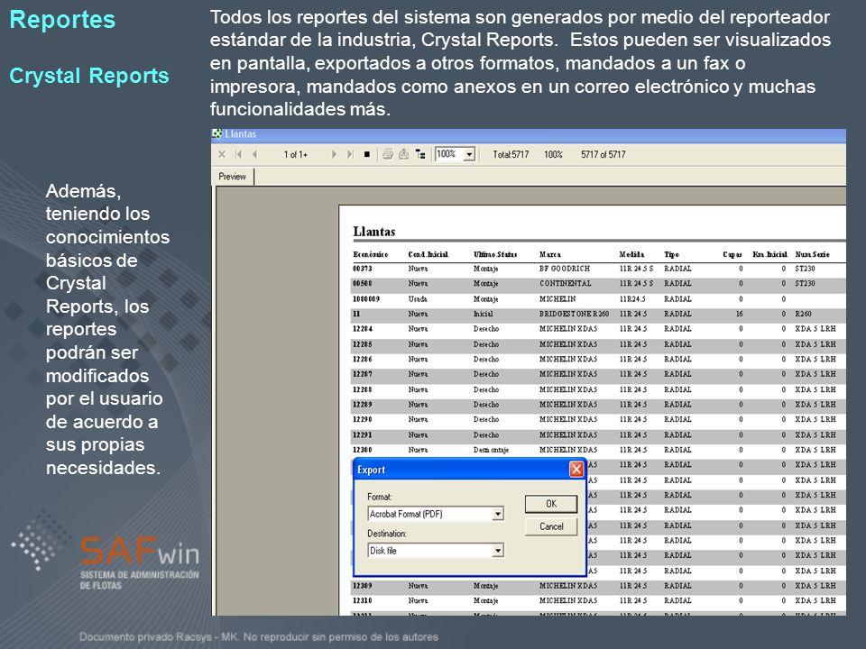 Todos los reportes del sistema son generados por medio del reporteador estándar de la industria, Crystal Reports. Estos pueden ser visualizados en pan