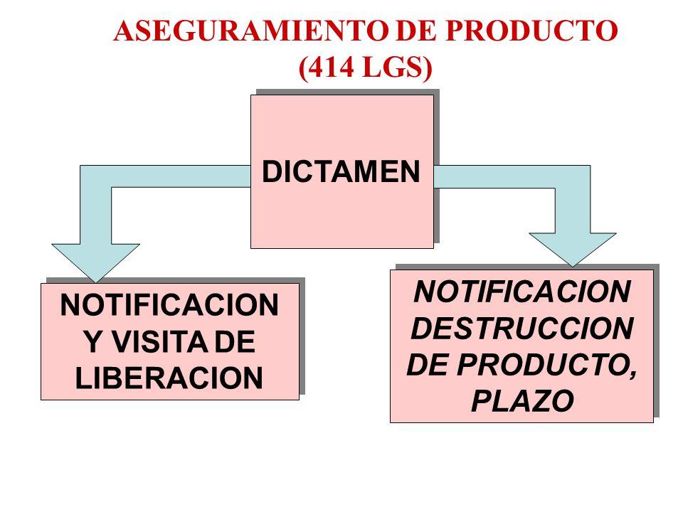 CAPTURA DE ACTA APLICACION DE LA MEDIDA DE MUESTREO Y ASEGURAMIENTO ASEGURAMIENTO DE PRODUCTO (414 LGS) MUESTRA: LAB. RESULTADOS