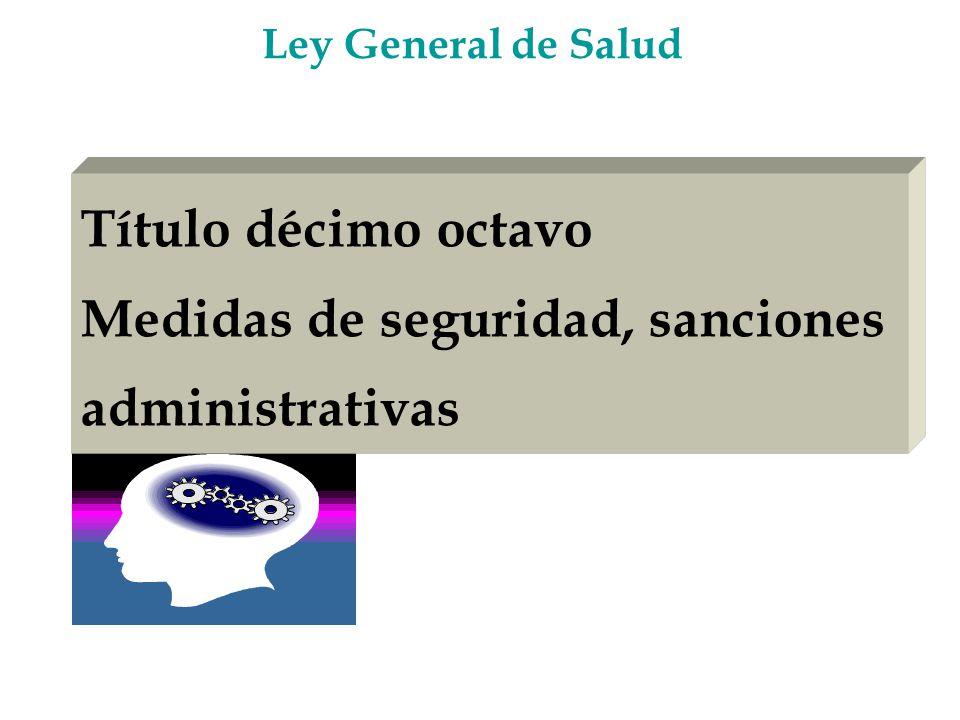 Título décimo octavo Medidas de seguridad, sanciones administrativas Ley General de Salud