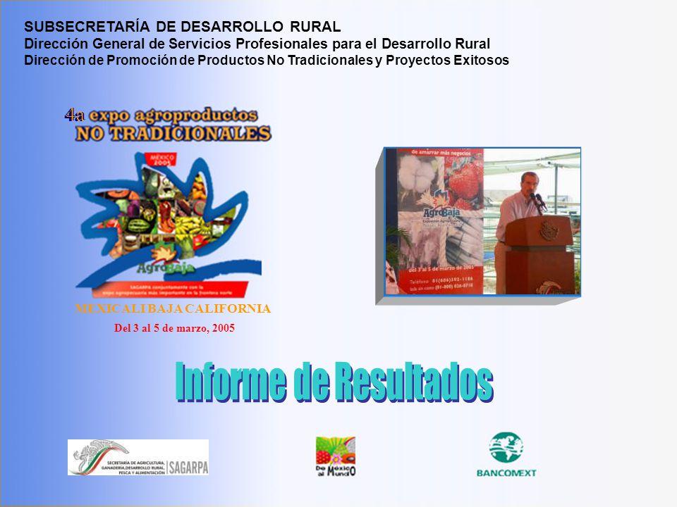 4 a Expo PNT, Agrobaja 2005 1 MEXICALI BAJA CALIFORNIA 4a Del 3 al 5 de marzo, 2005 SUBSECRETARÍA DE DESARROLLO RURAL Dirección General de Servicios P