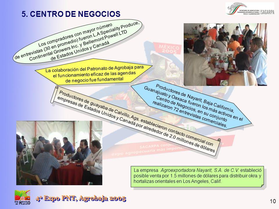 4 a Expo PNT, Agrobaja 2005 10 La colaboración del Patronato de Agrobaja para el funcionamiento eficaz de las agendas de negocio fue fundamental Los c