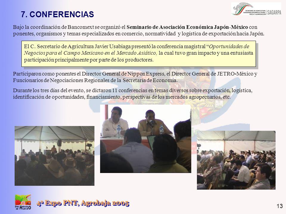 4 a Expo PNT, Agrobaja 2005 13 7. CONFERENCIAS Bajo la coordinación de Bancomext se organizó el Seminario de Asociación Económica Japón-México con pon