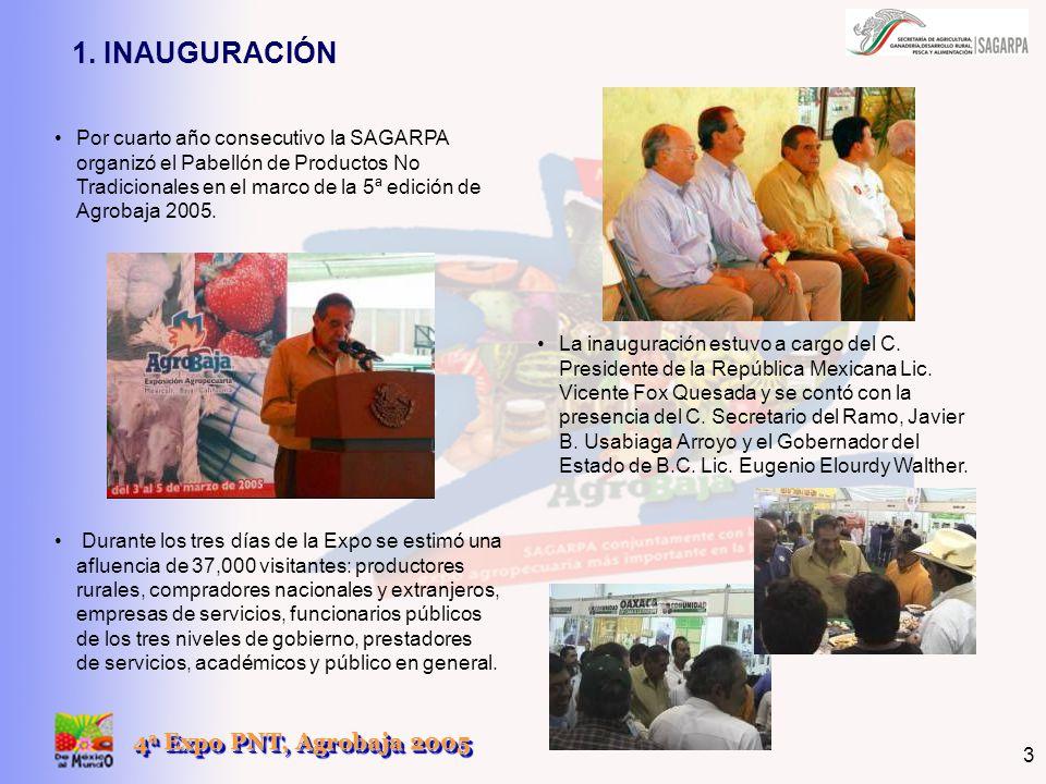 4 a Expo PNT, Agrobaja 2005 3 Por cuarto año consecutivo la SAGARPA organizó el Pabellón de Productos No Tradicionales en el marco de la 5ª edición de