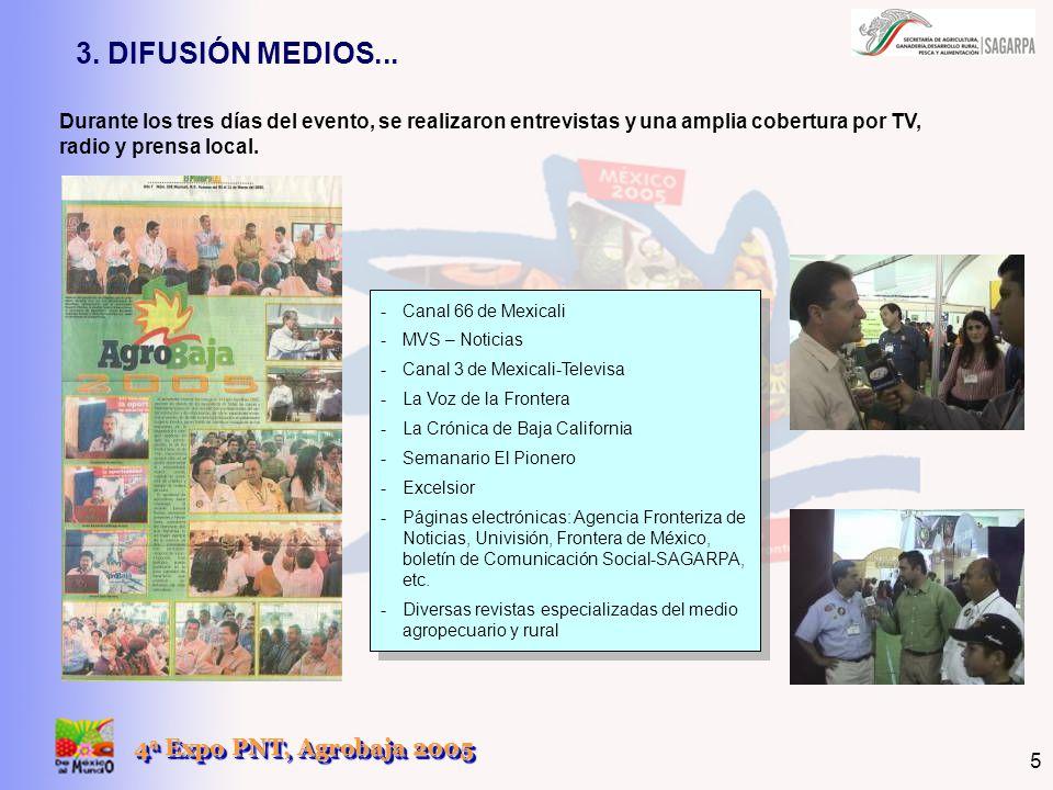 4 a Expo PNT, Agrobaja 2005 5 Durante los tres días del evento, se realizaron entrevistas y una amplia cobertura por TV, radio y prensa local. 3. DIFU